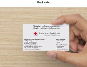 Back side of Business Card designed by ATC Web Solutions for Safety Penn Training