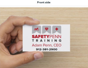Front side of Business Card for Safety Penn Training designed by ATC Web Solutions