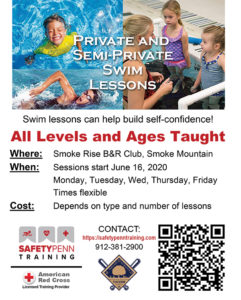 Flyer created by ATC Web Solutions of Swim Lessons offered by Safety Penn Training with QR code