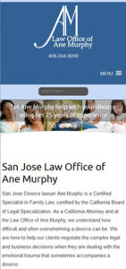 Law Office of Ane Murphy website on mobile was built and maintained by ATC Websites