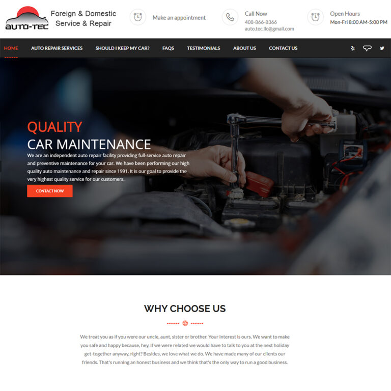 ATC Web Solutions built the Autotec in Campbell website in WordPress