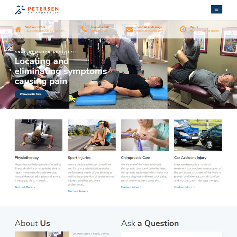 ATC Web Solutions created the Chiropractic Petersen website in San Jose, CA