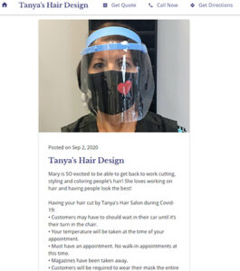 First Blog posting of Tanyas Hair Design on Google Business website