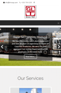 George Throop Company home page on Mobile