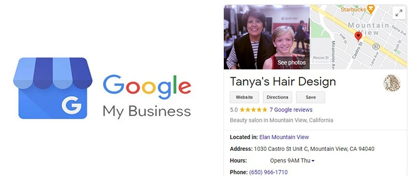 How information is displayed on Google search results from Google My Business Listing