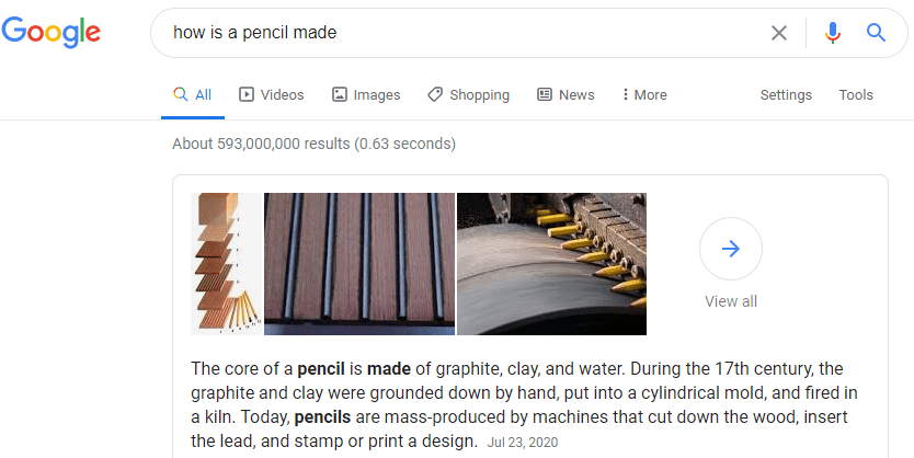 Image of Featured Snippet on Google