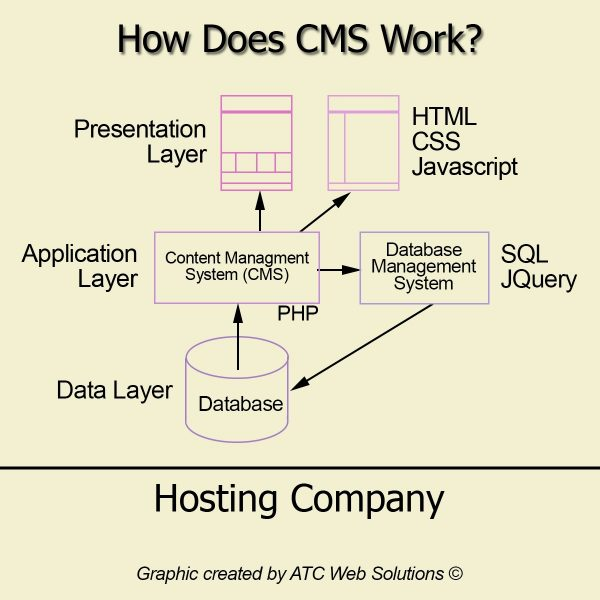 Graphic showing how a CMS works
